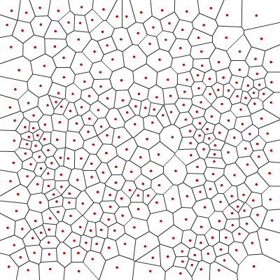 Voronoi diagram with Lloyd relaxation run twice