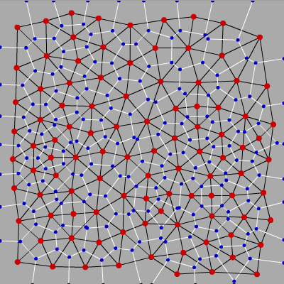 Example Voronoi diagram with Delaunay overlay