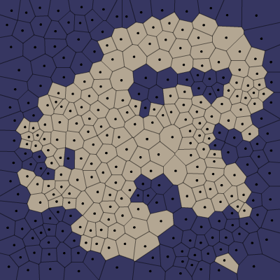 Polygon map with land and water chosen