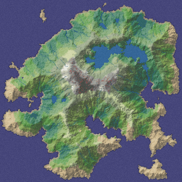 Map of a procedurally generated island