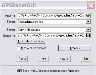Getting waypoints into the Garmin GPS 60 using  loc file and